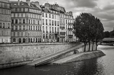 Seine River Bank on Ile Saint Louis, Paris, France Photographic Print