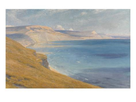 Sea and Sunshine, Lyme Regis, 1919 (Oil on Board) Giclee Print