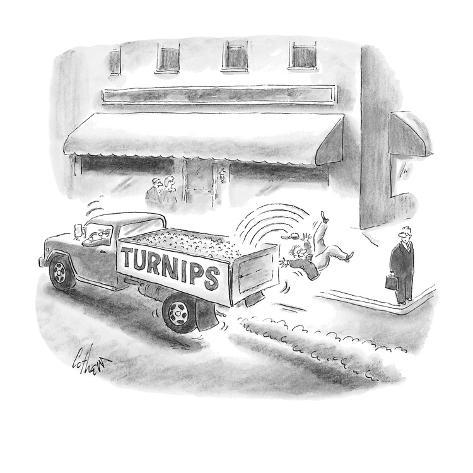 a man on a street corner watches another, crazy man fall off of a truck la… - Cartoon Premium Giclee Print