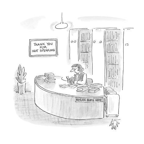 librarian with a sign behind her that reads 'Thank You for Not Speaking' - Cartoon Premium Giclee Print