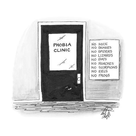 office door that says 'Phobia Clinic' has a sign next to it reading 'No Mi… - Cartoon Premium Giclee Print