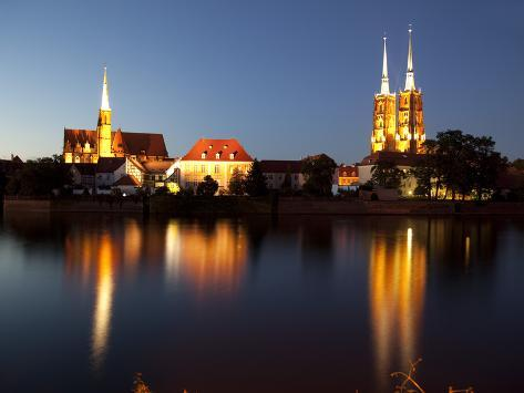 Cathedral and River Odra (River Oder), Old Town, Wroclaw, Silesia, Poland, Europe Photographic Print
