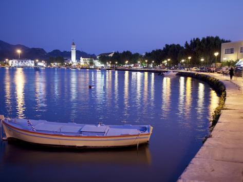 Harbour at Dusk, Zakynthos Town, Zakynthos, Ionian Islands, Greek Islands, Greece, Europe Photographic Print