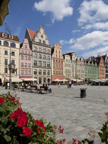 Market Square from Cafe, Old Town, Wroclaw, Silesia, Poland, Europe Photographic Print