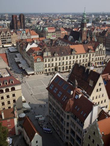Market Square from St. Elisabeth Church, Old Town, Wroclaw, Silesia, Poland, Europe Photographic Print