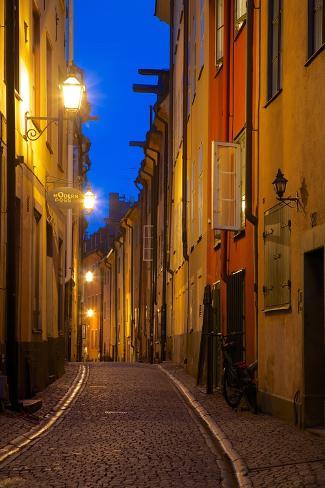 Narrow Street at Dusk, Gamla Stan, Stockholm, Sweden, Scandinavia, Europe Photographic Print