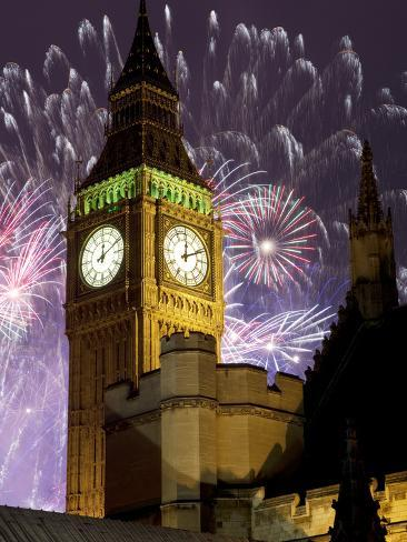 New Year Fireworks and Big Ben, Houses of Parliament, Westminster, London, England, United Kingdom, Photographic Print