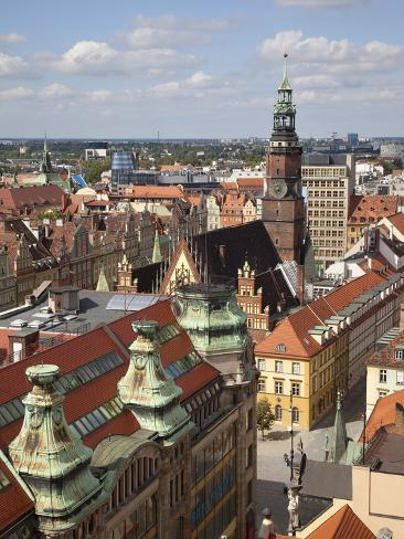 Old Town Rooftops Viewed from Marii Magdaleny Church, Wroclaw, Silesia, Poland, Europe Photographic Print