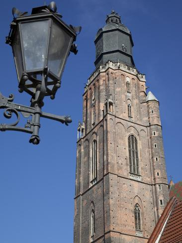 St. Elisabeth Church and Lamp, Old Town, Wroclaw, Silesia, Poland, Europe Photographic Print