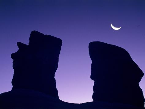 Rock formation in Devil's Garden at night Photographic Print
