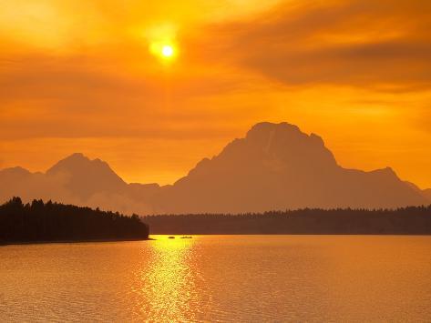 Sunset over Jackson Lake Photographic Print