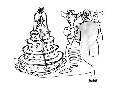 woman at wedding looking at wedding cake that has a huge split down