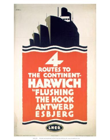 Four Routes to the Continent, LNER, c.1923-1947 Art Print