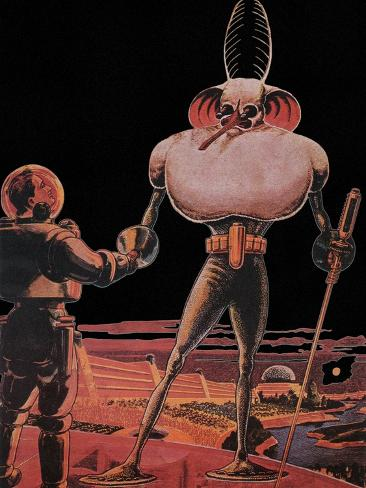 Sci Fi - Alien and Astronaut, 1939 Stretched Canvas Print