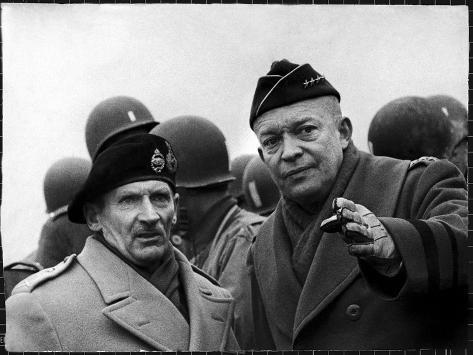 Gen. Dwight Eisenhower, Commander in Chief with British Field Commander Gen. Bernard Montgomery Premium Photographic Print