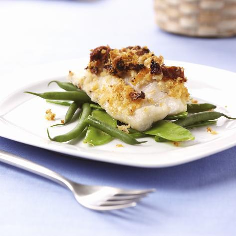 Baked Cod on Beans Photographic Print