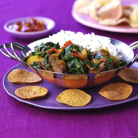 Lamb Curry with Spinach and Rice Photographic Print