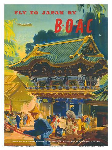 British Overseas Airways Corporation: Fly to Japan by BOAC, c.1950s Art Print