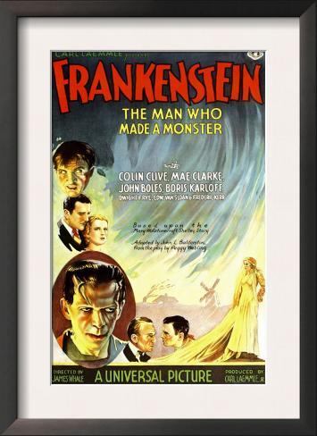 Frankenstein, Dwight Frye, John Boles, Mae Clarke, Boris Karloff, Edward Van Sloan, 1931 Framed Art Print
