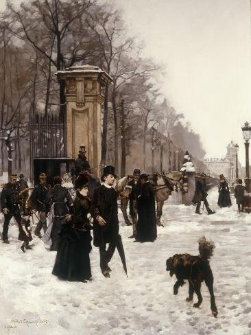 Promenade on a Winter Day, Brussels, 1887 Giclee Print