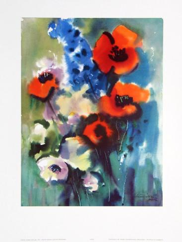Red Poppies and Delphinium Art Print