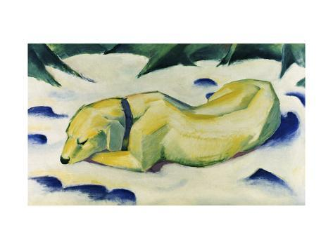 Dog Lying in the Snow Giclee Print