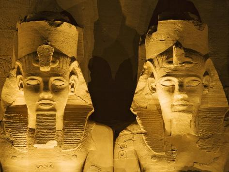 Detail of seated colossi of Ramesses II at Abu Simbel temple Photographic Print