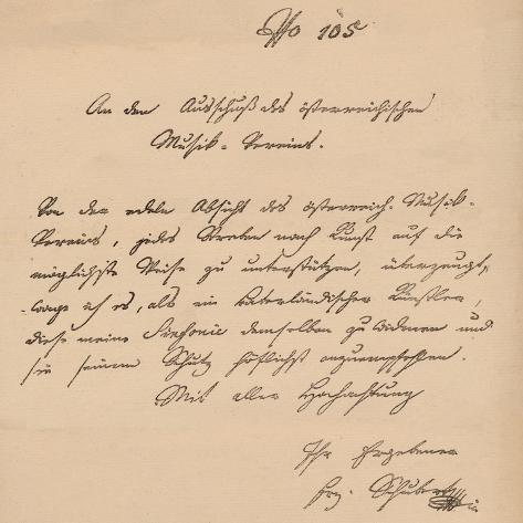 Letter from Franz Schubert to the Austrian Musical Union, c1820 Giclee Print