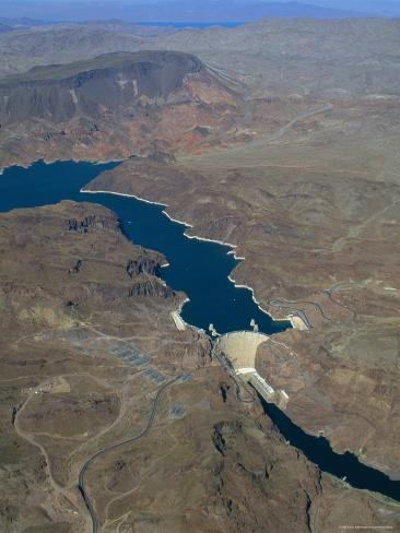 The Hoover Dam and Lake Mead from the Air, Nevada, USA. Photographic Print