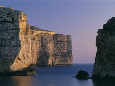 Coastline in the Evening at Dwejra, Gozo, Malta, Mediterranean, Europe Photographic Print