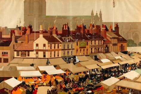 An English Country Market Giclee Print