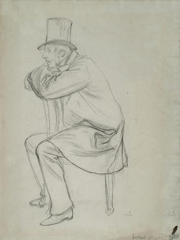 Study of a Male Figure in Contemporary Dress with a Chair, C 1849