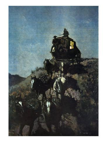 The Old Stage Coach of the Plains Premium Giclee Print