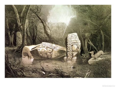 Broken Mayan Idol at Copan, Guatemala Giclee Print