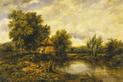 A River Landscape with an Angler by a Mill Giclee Print