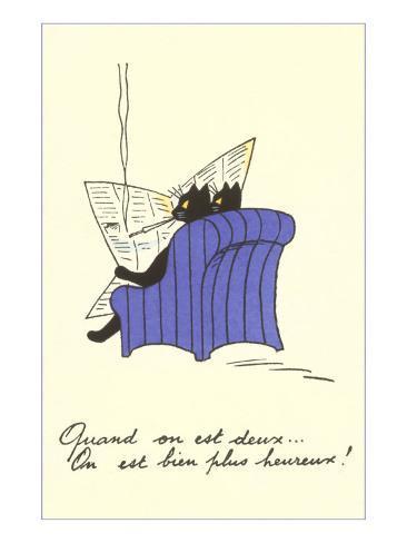 French Black Cats Reading Newspaper Art Print