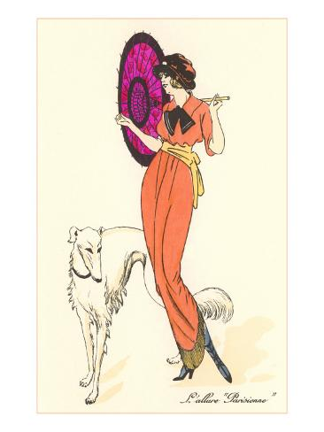 French Fashion, Borzoi Art Print