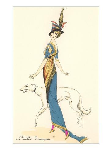 French Fashion, Greyhound Art Print