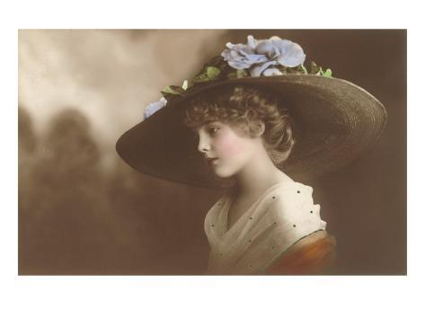 French Fashion, Huge Hat with Flowers Art Print