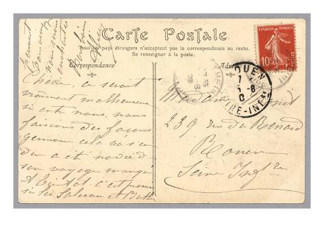 Handwritten Postcard Sent to Madame J. Monet (Ink on Paper) (Verso for Recto See 233965) Giclee Print
