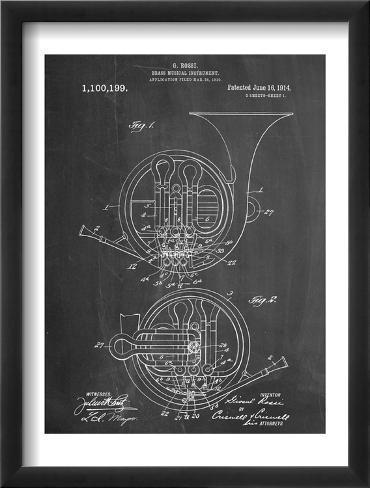 French Horn Instrument Patent Framed Art Print