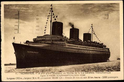 French Line, Cgt, Dampfschiff Normandie, Paquebot Giclee Print
