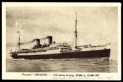 French Line Cgt, Paquebot Espagne, Dampfschiff Stampa giclée