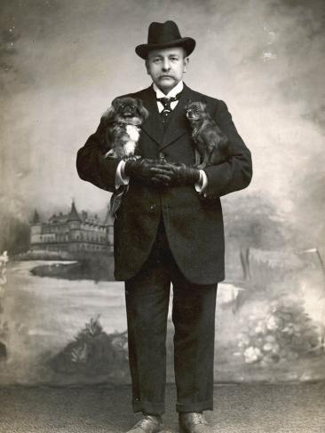 French Man in a Black Suit with a Pekingese Dog Under Each Arm Photographic Print