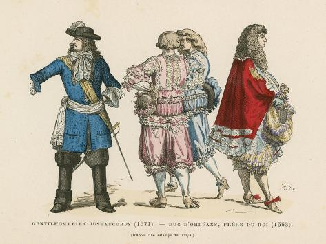 French Men's Costumes, 17th Century Giclee Print