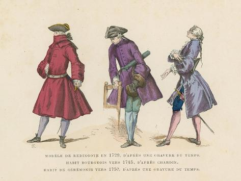 French Men's Fashions, 18th Century Giclee Print