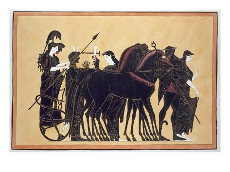 Minerva in a War Chariot with Attendants, Published 1808-10 (Colour Litho) Giclee Print