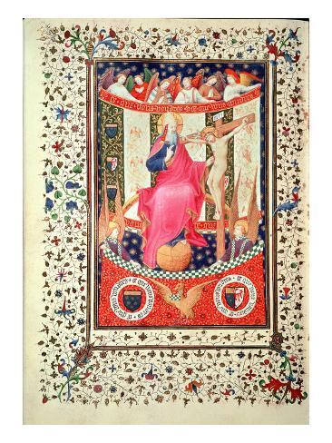 Ms 2 F.18V La Trinidad, del libro de las Horas de  Boucicaut, C.1410, pergamino Lámina giclée