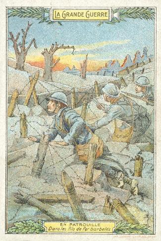 French Patrol Among the Barbed Wire, World War I Stampa giclée