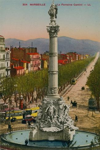 La Fontaine Cantini in Marseille. Built by Sculptor Andre Allar. Postcard Sent in 1913 Giclee Print